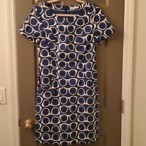 Boden   Angela Textured Dress Blue Glasses Print